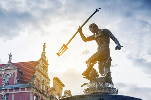 Famous Neptune fountain, symbol of Gdansk, Poland - 65497882