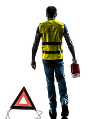 man accident yellow vest warning triangle silhouette