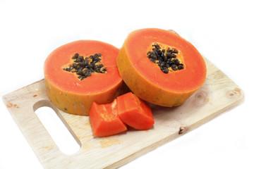 Sweet papaya close up isolated