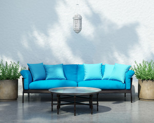 Contemporary bohemian elegant moroccan outdoor sofa