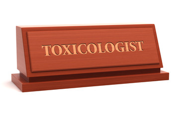 Toxicologist job title on nameplate