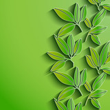 Green leaves abstract background. Vector