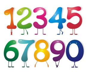 Numbers set. Vector illustrations.