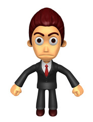 3D Business man Mascot as a gesture of anger. Work and Job Chara