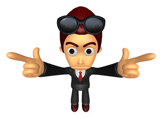 3D Business man Mascot To point the finger at you with both hand