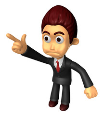 3D Business man Mascot To point the finger at the angry look. Wo