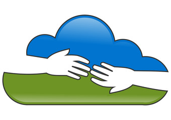 logo cloud connection hand
