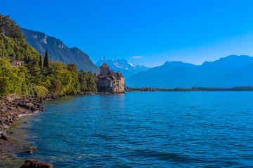 The Chillon Castle at Lake Geneva.