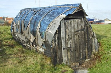 old boat hut at Lindisfarne island