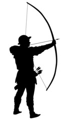 Archer with bow and arrow detailed vector silhouette. EPS 8