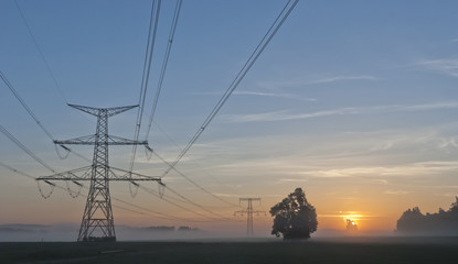 Electricity Pylons and nuclear power plant Temelin - Czech Repub