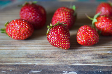 ripe strawberries in a row