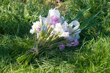 bouquet of lilacs and irises