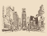Fototapety street in New York city engraving  vector illustration