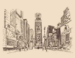 street in New York city engraving  vector illustration