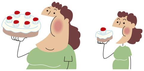 食べる量が増える女性