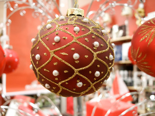 Close-up of a red Christmas bauble