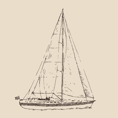 sailing ship, vintage illustration, engraved style