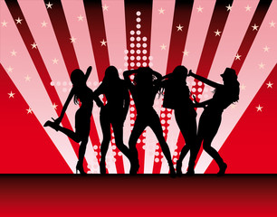 vector silhouettes of beautiful women on red background