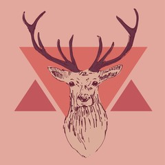 deer head engraving style, hipster, vintage illustration