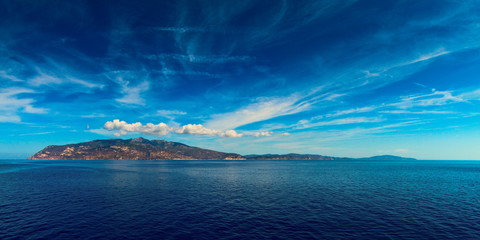 Elba island Tuscan Archipelago from the ship