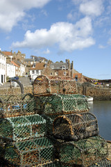 Crail harbour and lobster pots