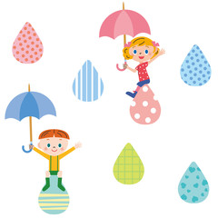雨と傘を持つ子供