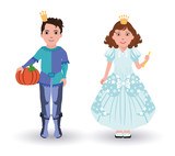 Little Cinderella princess and prince with pumpkin, vector poster