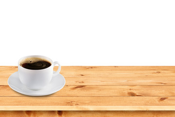 Natural pine boards with coffee cup