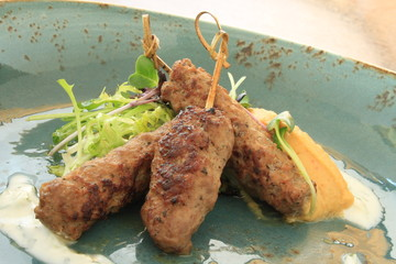 mini kofta kofte shish kebabs on skewers starter