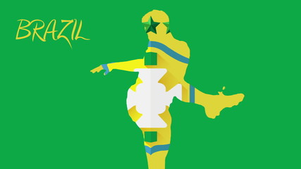 Brazil football animation with player