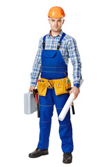 Construction worker with toolbox and drawings