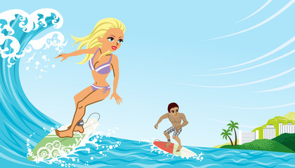 Couple enjoying Surfing
