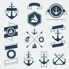 Collection of nautical symbols, icons, badges and elements.