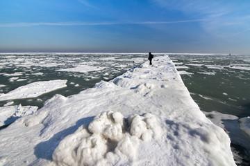 Frozen ice ocean coast - alone man polar winter