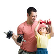 man and son doing exercise with dump-bells
