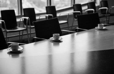 Meeting room with coffee cups