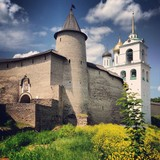 Kremlin walls in the ancient Russian tower of Pskov poster