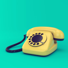 Yellow retro telephone