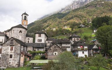 Lavertezzo, Dorf, Rustico, Dorfkirche, Tessin, Schweiz