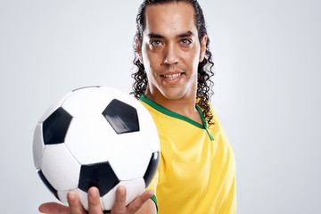 smiling soccer player