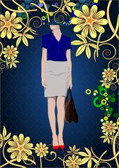 Flower poster with businesswoman image. Vector illustration