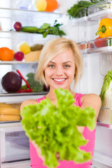 woman green salad diet, refrigerator