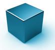 Blue metal cube