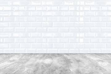 white Ceramic brick tile wall and cement floor