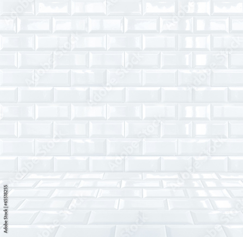 Glossy White Ceramic brick tile room