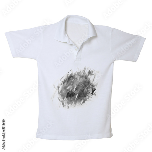 Dirty on white polo shirt isolated on white background - 65518660