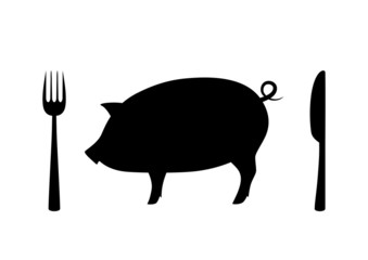 Pig icon on white background