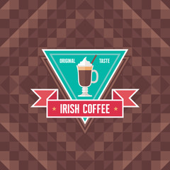 Irish Coffee - Original Vector Badge and Background