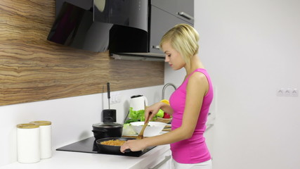 woman cook, young pretty girl modern kitchen prepare dinner home